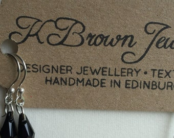 Gemstone Earrings, Dangle Swarovski Earrings, Designer Swarovski Earrings, Handmade Black Earrings, K Brown Jewellery, Edinburgh Designer