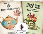 75% OFF SALE DIgital Collage Sheet - TEA Time -  Aceo Atc Shabby chic Vintage Printable download Scrapbooking