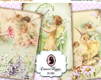 75% OFF SALE FAIRIES Digital Collage Sheet Digital Tags set of 8 Digital Collage Instant Download