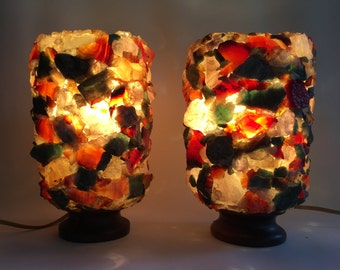 Breathtaking vintage real gems stone bedside or night lamps xx7