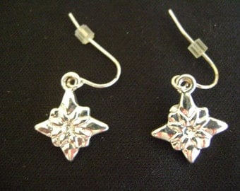 Pointsettia Earrings Sterling Silver