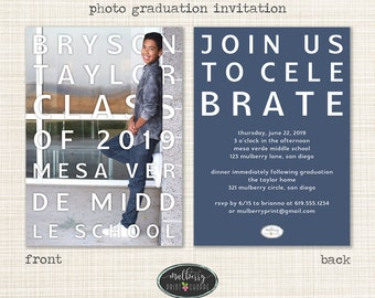Printable Photo Graduation Invitation Announcement- 2016- College, High School, Middle School, Elementary School - COLORS CHANGEABLE