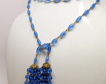 Art Deco Blue Glass Flapper Lariat Tassel Necklace    Great Gatsby