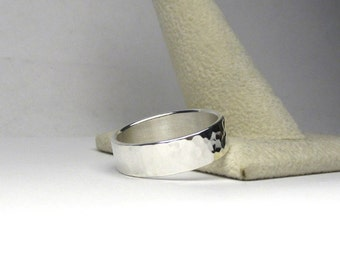 Hammered Silver Ring Hammered Sterling Silver Ring Made to Size Made to Order Engraving Options