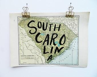 South Carolina Vintage State Map