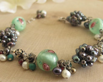 Glass Bead Bracelet with Mixed Semi Precious Stones, Freshwater Pearl, Turquoise. Vintage Bracelet, Pearl Cluster Bracelet, Silver Bracelet