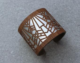 Wooden Cuff Bracelet, Art Deco Bracelet, Modern Cuff Bracelet, Statement Cuff Bracelet, Art Deco Jewelry, Wood Bracelet, Laser Cut wood cuff