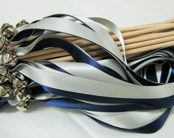 25 Wedding Wands Navy and Light Grey Silver Bell