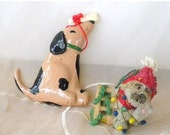 50% OFF SALE Set of 2 Vintage Dog Ornaments, Clay Spotted Dog with Bone on Nose and Resin Dog with Hat, Wrapped in Garland and Christmas Lig
