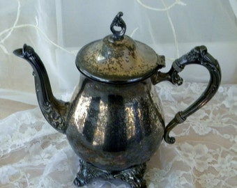 End of Summer Sale Newport Gorham Silverplate Teapot, Ornate Footed Teapot, Vintage Item, Mid Century, Patina