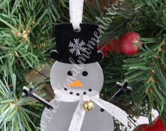 Personalised  Christmas Snowman Tree Decoration Acrylic Perspex Gift