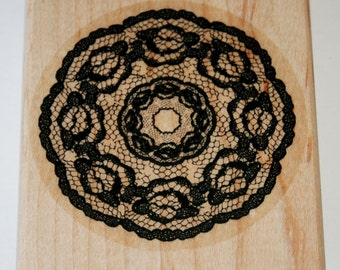 Circle Lace Doily Rubber Stamp retired from Stampin Up