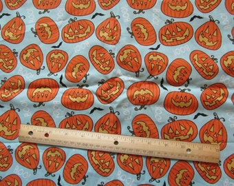 Pale Blue Pumpkin Fall/Harvest Cotton Fabric by the Yard