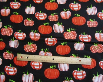 Black with Orange Patchwork Pumpkins Henry Glass Cotton Fabric by the Half Yard