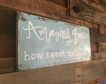 Amazing grace board, 8x20, ready to hang or stand alone!