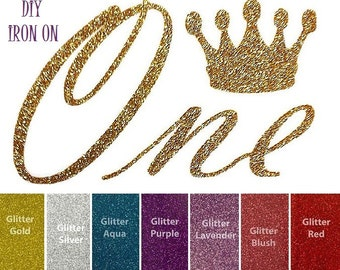 Diy ONE FIRST BIRTHDAY Crown Iron On, Vinyl Applique, First, 1st, 1, 1T, Logo, Shirt, Tank Top, Tee, Baby, Girls, Infant, Children, Toddler