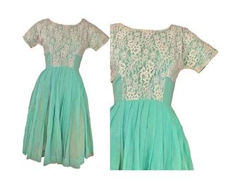 Vintage 60s Dress Sheer Cotton Garden Party Dress Aqua Blue and Lace XXS Shelf Bust Full Skirt