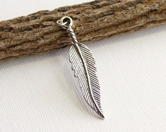 Oxidized Sterling Silver Feather Pendant -- 1 Piece