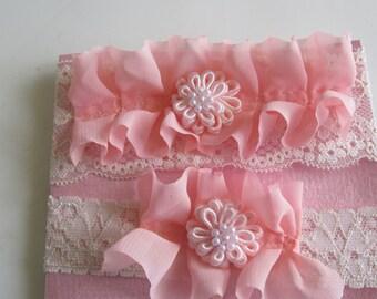 Peach Bridal Garter, Ruffled Garter, Lace Garter