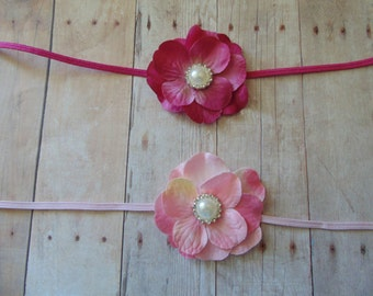 Hydrangea   Rosette Headbands ...  ..Baby Girl Headbands.. Photo Prop
