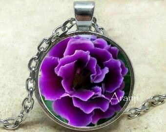 Purple flower necklace, Purple flower pendant, Purple ruffle flower necklace, Purple floral pendant, Pendant #PL152P