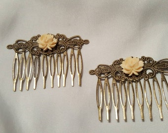 Hair Combs Creamy Peach Roses on Antique Gold Neutral Accessory Buttercream