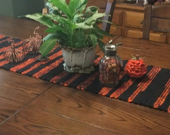 Halloween Orange and Black Handwoven Fabric Table Runner