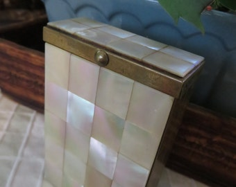 Lovely Mother of Pearl and Brass Cigarette Case by Marhill