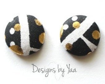 SMALL Gold Dusted Monochrome Button Earrings