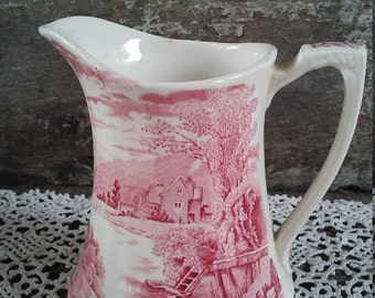 "Vintage Ironstone Pitcher, Red Transferware ""Tintern"" Pitcher, Alfred Meakin, 6"" Staffordshire Pitcher, English Transferware, Serving"