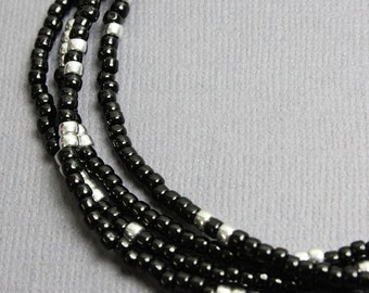 Black and Silver Seed Bead Necklace, Long Black and Silver Necklace, Black Layering Necklaces, Black Beaded Necklaces, Kathy Bankston