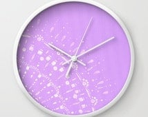 Purple Lace Wall Clock, purple clock, purple wall clock, nursery clock, lace wall clock, pastel wall clock, light purple clock, purple white