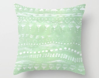 Mint Green Geometric Throw Pillow Cover, mint green cushion, mint nursery pillow, mint green pillow, mint throw pillow, light green pillow