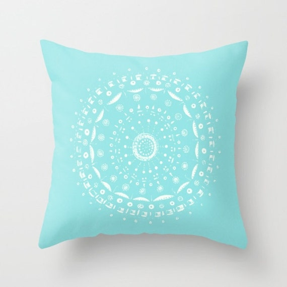 Blue Mandala Outdoor Throw Pillow Cover blue outdoor pillow