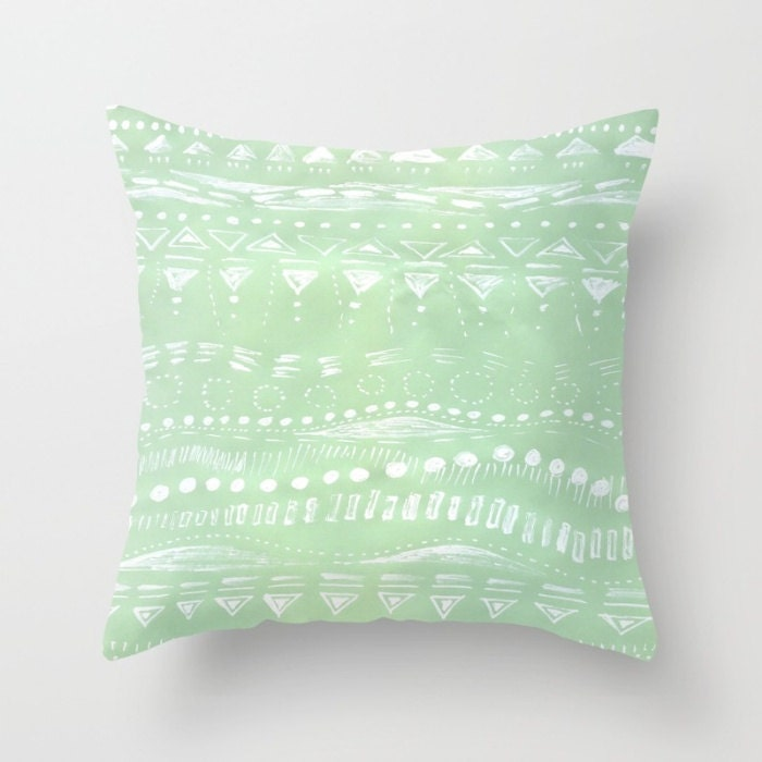 Mint Green Geometric Throw Pillow Cover mint green by lake1221