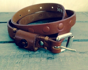 Brown real leather belt