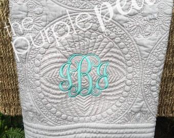 Monogrammed Baby Quilt, Baby Blanket, Baby Shower, Gift, Monogrammed Blanket, Personalized Blanket