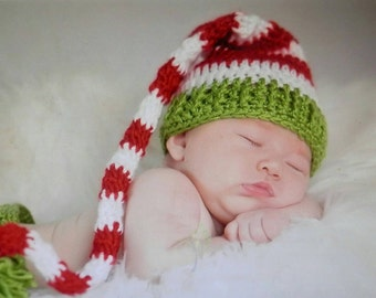 Red, White & Green Long tail Elf Hat Handmade Christmas Crochet Baby Beanie Hat Photo Prop Custom Made, x-mas