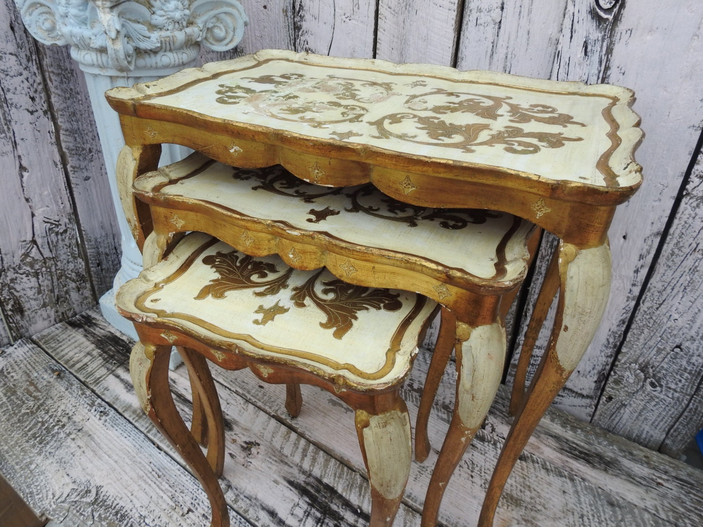 Antique vintage florentine nesting table tables set italy