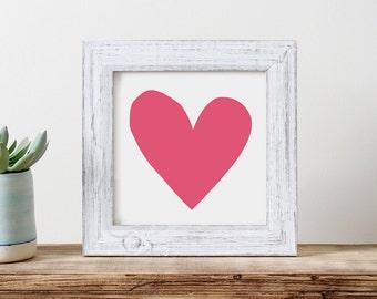 Pink heart print - baby girl's nursery - minimalist wall decor - printable art