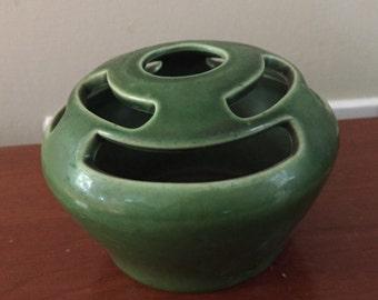 Vintage USA Ceramic Pottery Green Bud Flower Vase