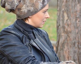 Naturel - OAAK wet felt hat and mittens set from organic wool and silk fibres - broun,camel,white - warm for winter - ready to ship