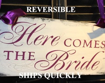 Here Comes the BRIDE Sign/Wedding Sign/Photo Prop/U Choose Colors/Great Shower Gift/Plum/Reversible Options/Wood Sign/U Choose/Fast Shipping