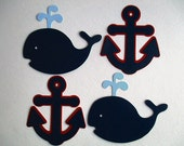 6 Nautical (3 size options) Theme Decorations, Diecut Cutouts, for Diaper Cake, Centerpiece, Birthday, Baby Shower, Red, Navy and  Baby Blue