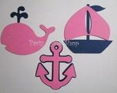 6 Nautical (3 size options) Theme Decorations, Diecut Cutouts, for Diaper Cake, Centerpiece, Birthday Party, Baby Shower, Pink Navy Blue