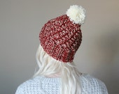 ON SALE chunky textured beanie . warm chunky pom pom hat . hiking hat < brick red . speckled >
