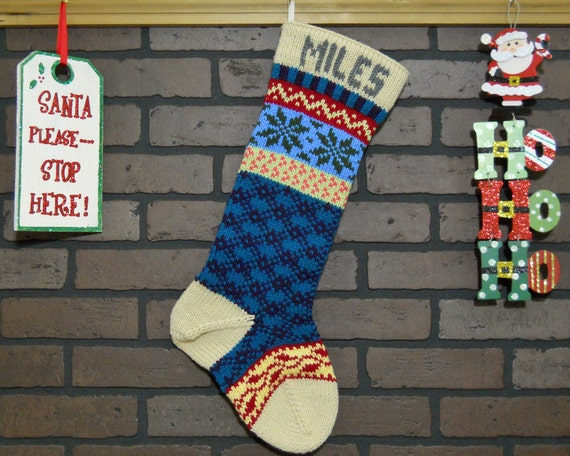 Personalized Christmas Stocking Hand Knit in Tan with Ivy and