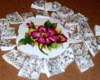 Take 40% Off, Broken China, Mosaic Focal, Mosaic Pieces, Mosaic supplies,  Wild rose,