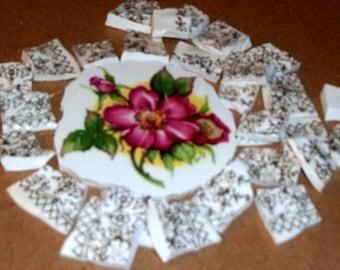 Broken China, Mosaic Focal, Mosaic Pieces, Mosaic supplies,  Wild rose,