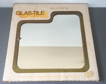 vintage Hoyne Glas-Tile 6 12x12 mirror tiles 70s decor